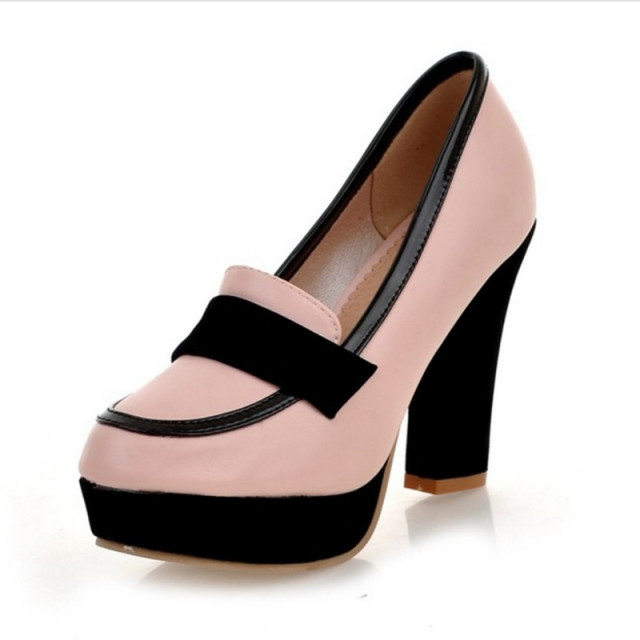 Brand New Big Size 34-43 Women Pumps Sexy Chunky High Heels Spring Autumn Shoes Woman Black White Platform Party Pumps