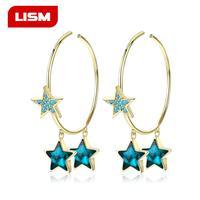 925 Sterling SilverEarrings Popular Fashion Personality Simple Pentagram Ear Ring Female Accessories
