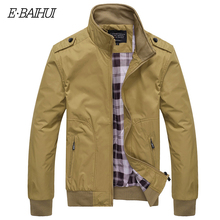 E-BAIHUI Brand Men Jacket Coat Autumn Winter Overcoat Outwear Casual Solid Slim Fit Stand Collar Zipper Jackets Coats G020