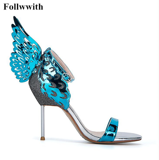 968d87a9694 Blue Champagne Butterfly Winged Gladiator Women Sandals 2017 Sophia Webster  High Heels Sandals Summer Ankle Strap Shoes Pumps