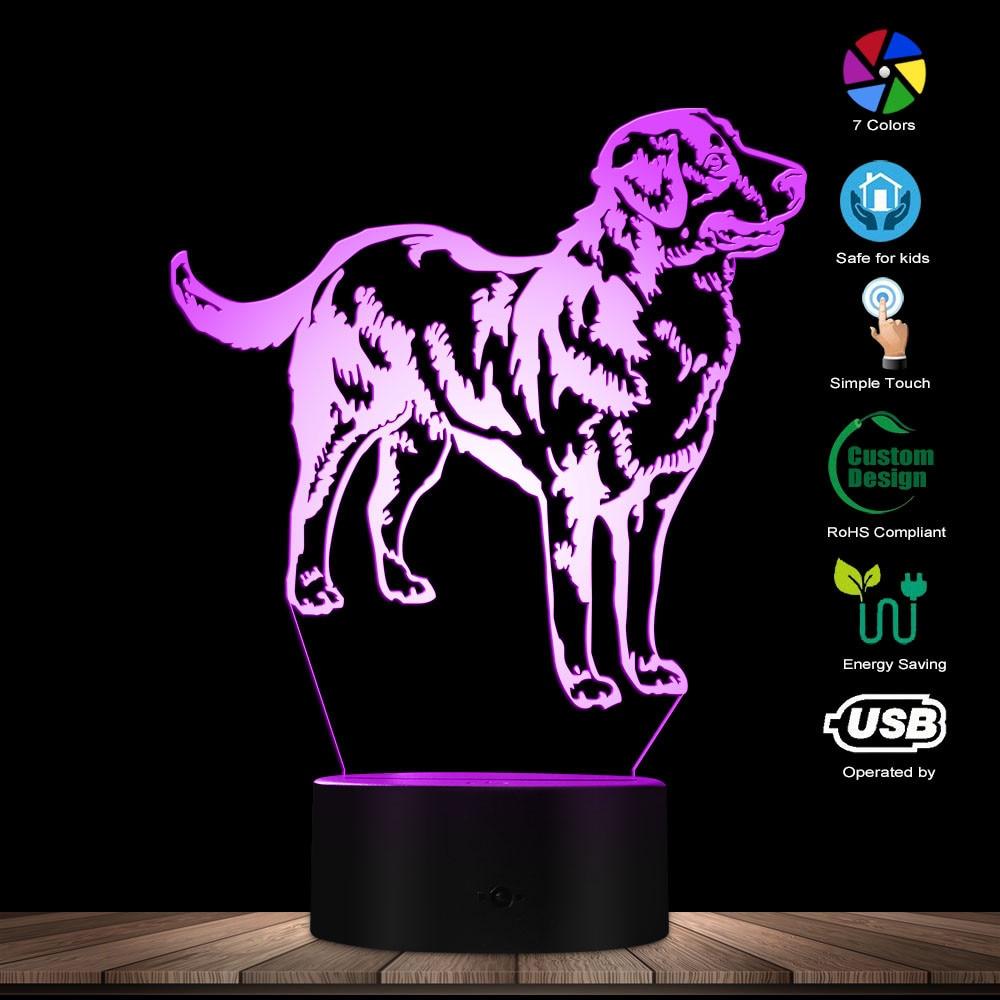 3D Swiss Bernese Mountain Dog Breed Shape Modern Design Customize Name Home Decor LED Illusion Night Light Pet Puppy Sleepy Lamp