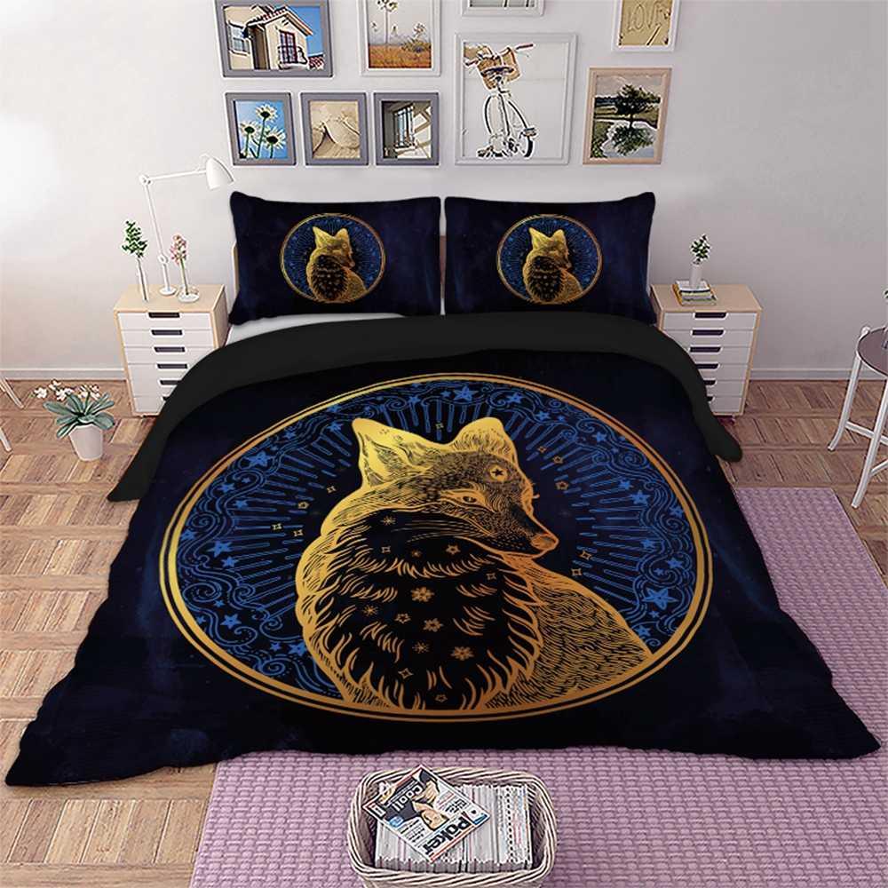 Gold fox bedding set black color Twin Full Queen King Double Size Duvet Cover Pillow Cases 3pcs
