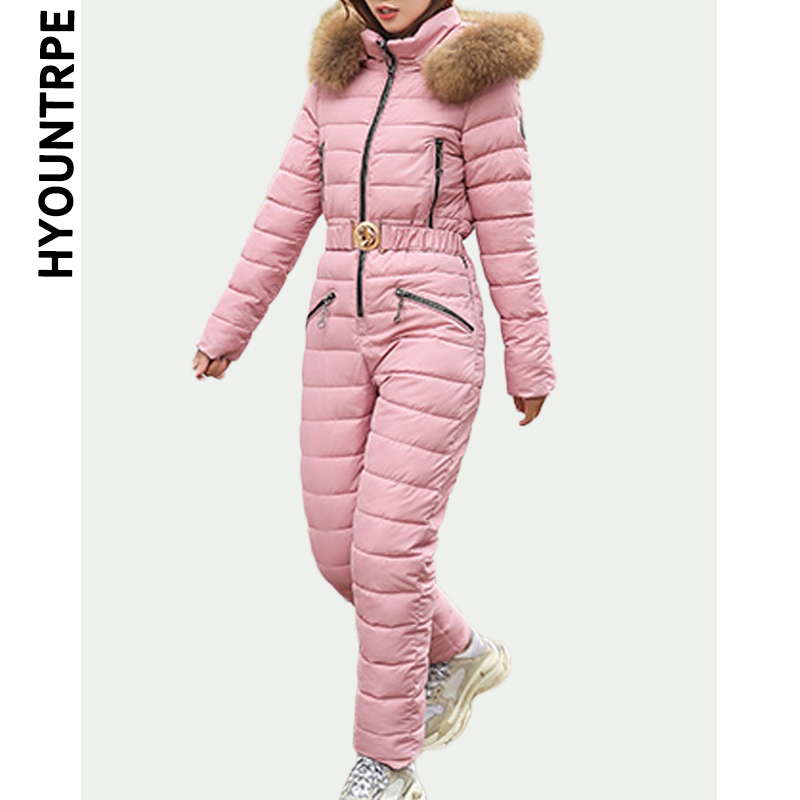 Elegant Women Ski Suit Casual Zipper Warm Cotton Padded Hooded Jacket Coat New Solid Color One Piece Jumpsuits Winter Tracksuits