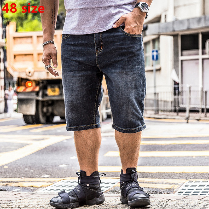 Summer men's big size denim shorts big people's trouser shorts plus fat increase jeans big men's casual Shorts