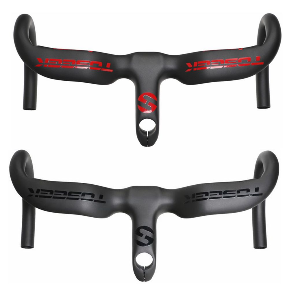 TOSEEK Super light Full UD Carbon Road Bicycle Integrated Handlebar With Stem Uplift Design Cycling Bike Parts Black Red