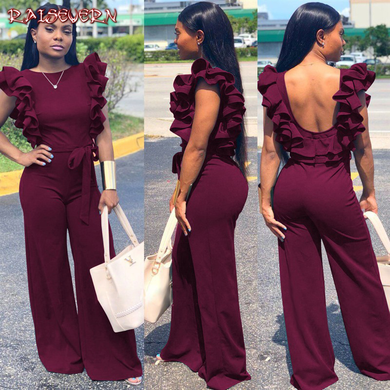 RAISEVERN Elegant Ruffles Women   Jumpsuits   Summer Sleeveless Black Wine Long Wide Leg Pant Bodycon Tunic Bandage Rompers Overalls