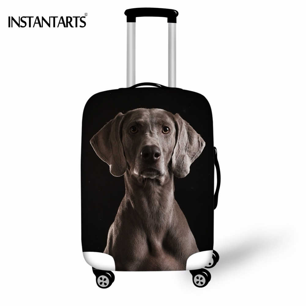 INSTANTARTS Cool 3D Dog Weimaraner Print Travel On Road Luggage Waterproof Cover For 18-30 Inch Trolley Suitcase Dust Rain Cover