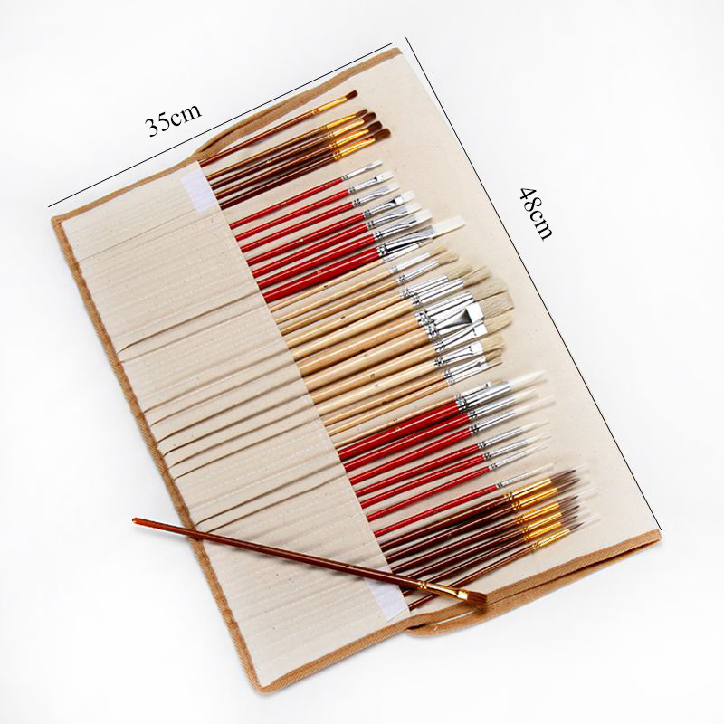 38Pcs Paint Brushes Set With Canvas Bag Case Long Wooden Handle Synthetic Hair Art Supplies For Oil Acrylic Watercolor Painting