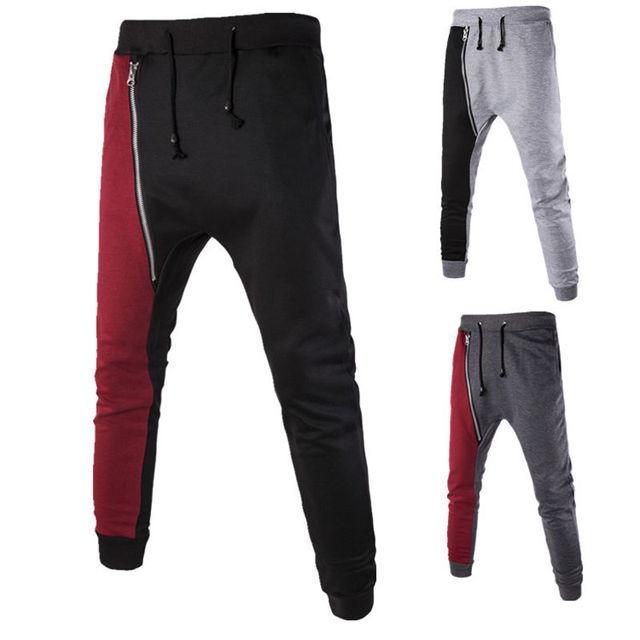 Homens longas calças harém ocasional folgado hip hop calças soltas calças
