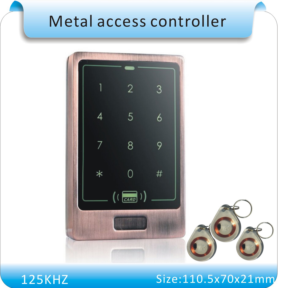 Free shipping metal case  touch keyboard led light 125KHZ RFID access control system +10pcs crystal keyfobs metal shell touch keyboard 125khz rfid access control system entrance guard password and rfid 10pcs crystal keyfob