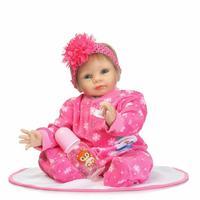 22Inch 55 cm Silicone Vinyl Reborn Baby Dolls in rose Clothes Lifelike Reborn Dolls Babies Bebe Boneca Best Christmas Gift