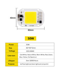 Cob LED Chip 220 V 110 V 20 W 30 W 50 W LED Rechteckige für Flutlicht Spotlight Spektrum Phyto 8 farben Smart Chips # 2c