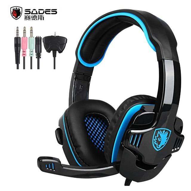 Оригинал SADES SA-708GT Gaming Headset Наушники Стерео Компьютер Gamer Наушники с Микрофоном для Xbox 360 PS4 Игры для ПК