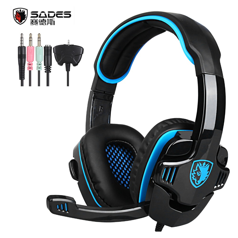 Original SADES SA-708GT Gaming Headset Headphones Stereo Computer Gamer Earphones with Microphone for Xbox 360 PS4 PC Games