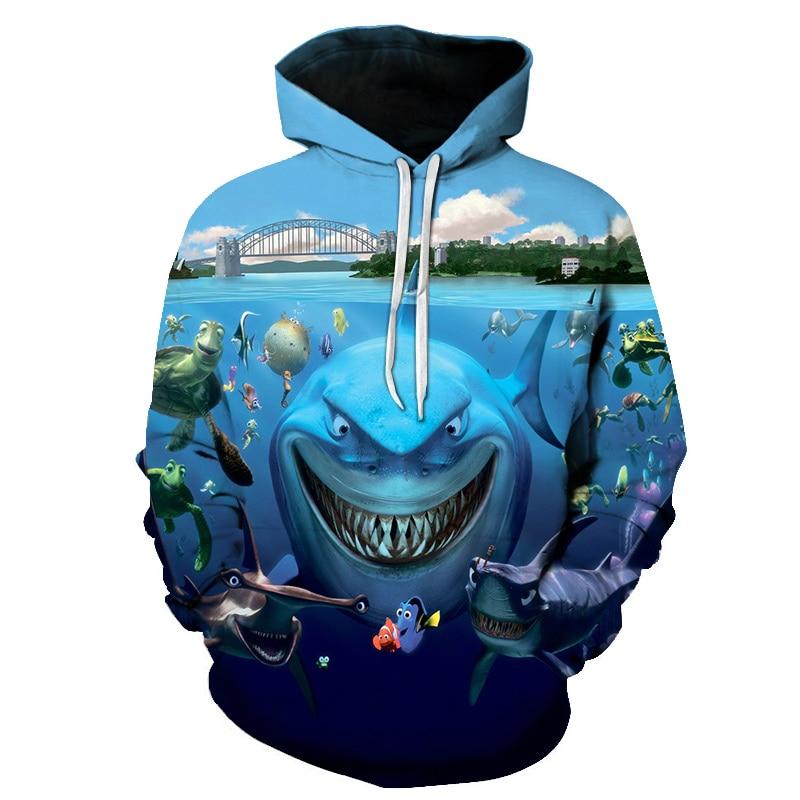 Fish hoodie seaworld 3Dmen's sportswear sweatshirt unisex hoodie drop captain's sleeve pullover autumn and winter Big size S-6xL