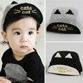 Primavera verão bordados cat chapéus boné de beisebol do bebê cap baby boy meninas encantadoras do bebê boina chapéu de sol preto/cinza
