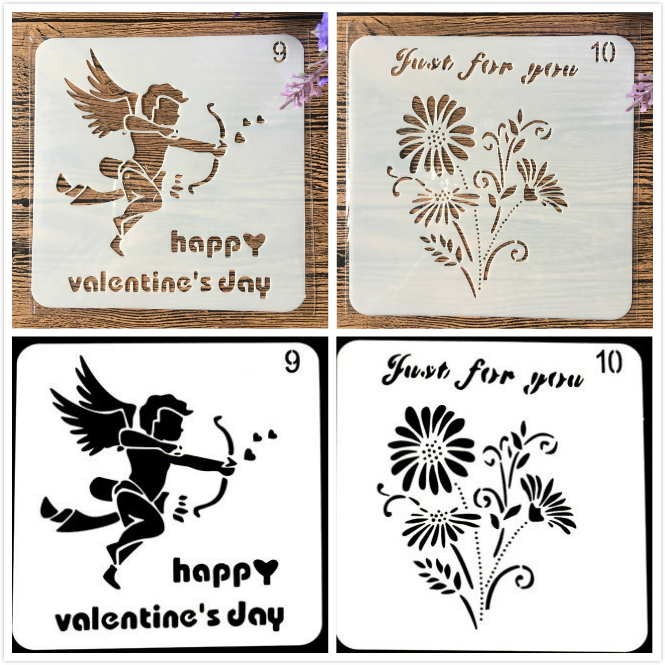 1Pair 13cm Flower Happy Valentine DIY Craft Layering Stencils Painting Scrapbooking Stamping Embossing Album Paper Template