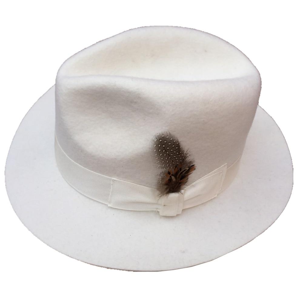 Classico Bianco uomo Cappello di Feltro di Lana Cappello Fedora Padrino  American Style in Classico Bianco uomo Cappello di Feltro di Lana Cappello  Fedora ... 659a82badd0d