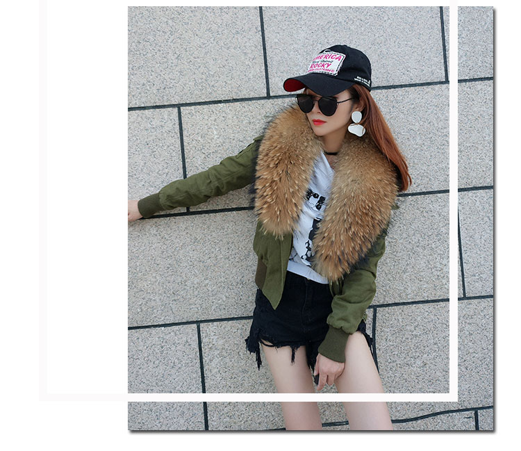 women cotton Flight suit jacket with real fur collar (5)