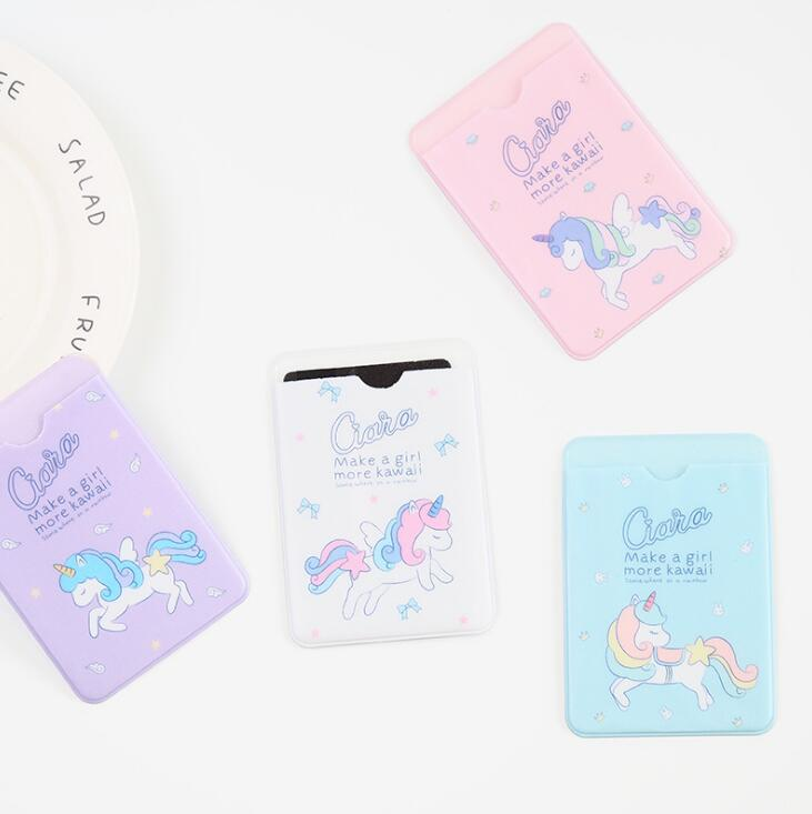 Kawaii Unicorn Characters Double Layer Silicone Card Cover Bus Bank Id Card Case Holder ...