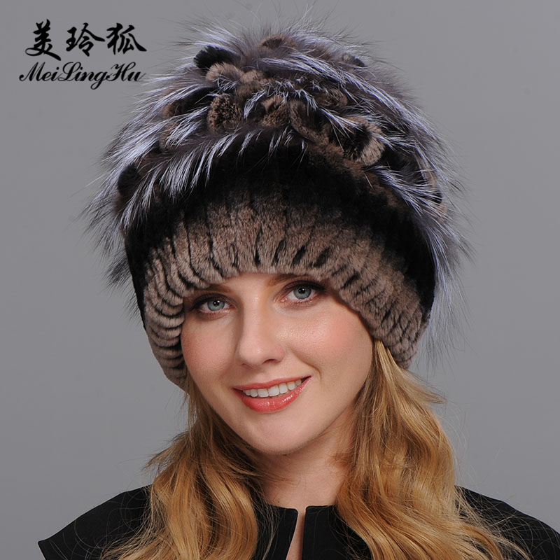 Winter Fur Hat for Women Real Rex Rabbit Fur Hats with Silver Fox Fur Flower Knitted Beanies Caps New High-end Women Fur Cap 2pcs new winter beanies solid color hat unisex warm soft beanie knit cap winter hats knitted touca gorro caps for men women