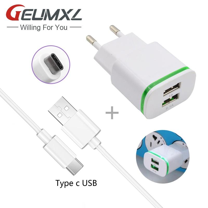 GEUMXL 2.1A EU Plug Adapter Phone Travel Charger + Type C USB Data Cable For Asus Zenfone 3 Deluxe ZS570KL,Zenfone 3 ZE552KL