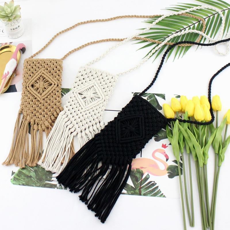 Handmade Cotton Tassel Retro Woven Bag Mori Girl Slung Small Mobile Phone Bag Casual Handbags Straw Bag