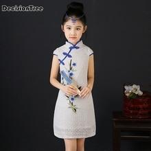 2017 autumn elegant floral peacock cheongsam kids baby child dress chinese qipao girls dress цены