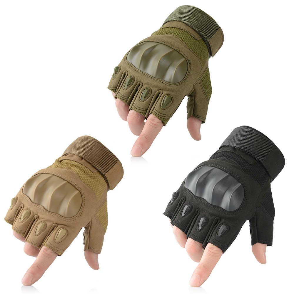 Черные тактические военные перчатки без пальцев солдатский военный армия спецназ с твердыми костяшками для вождения половина пальцев перчатки мужские и женские нескользящие