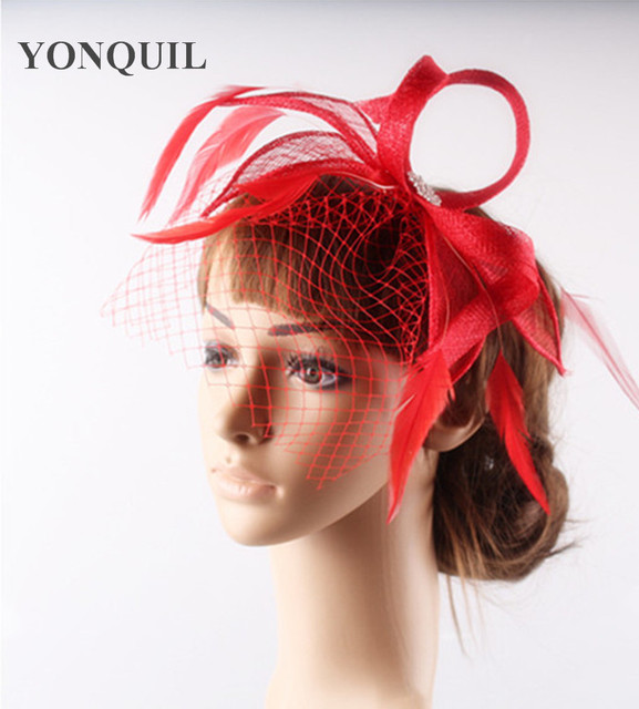17 Colors Fashion Sinamay Fascinator Bridal Birdcage Veil Face Headpiece Birthday Headband Hair Accessories Church Hat