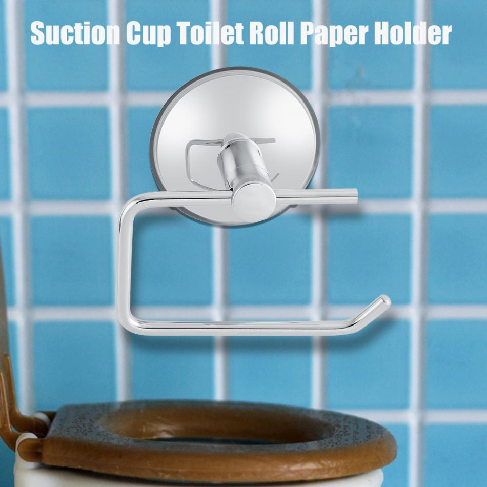 Toilet Tissue Rack Stainless Steel Bathroom Toilet Suction Cup Paper ...