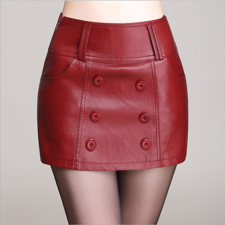 Plus Size 4XL PU Leather font b Women s b font Shorts font b Skirts b