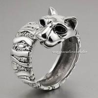 rings for women Solid 925 Sterling Silver leopard Big Cat Ring 8E002