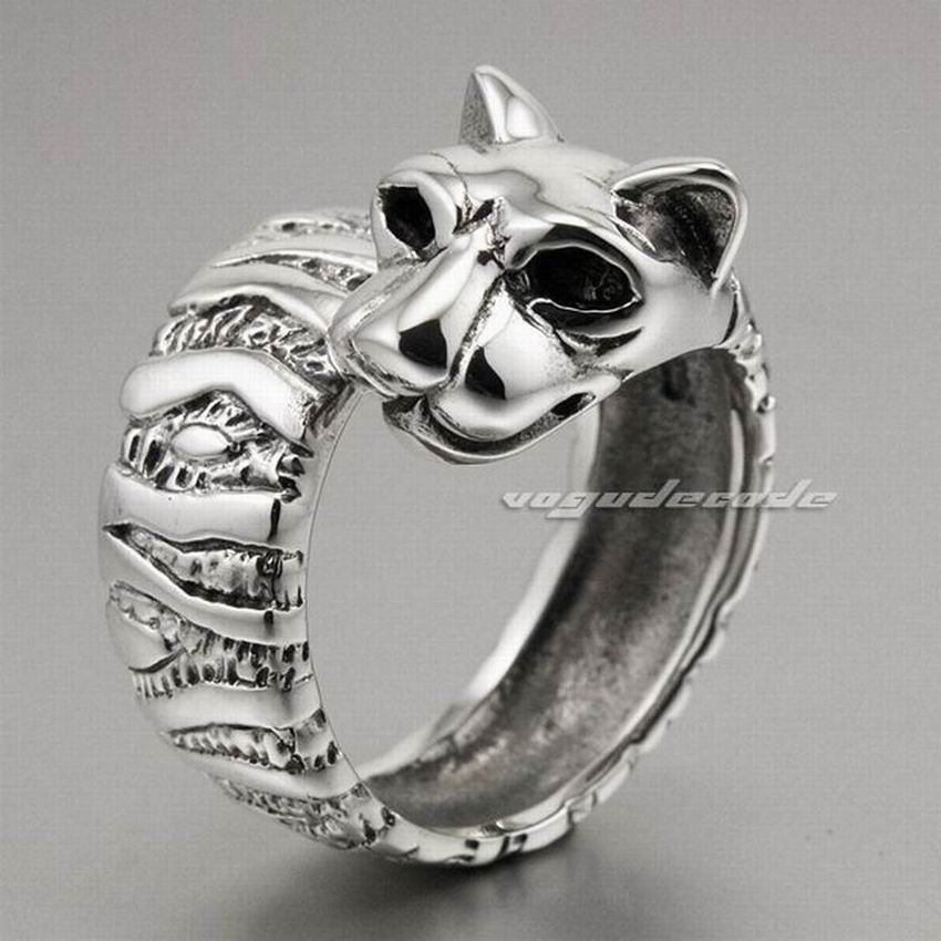 rings for women Solid 925 Sterling Silver leopard Big Cat Ring 8E002 cute solid color cat s claw cuff ring for women