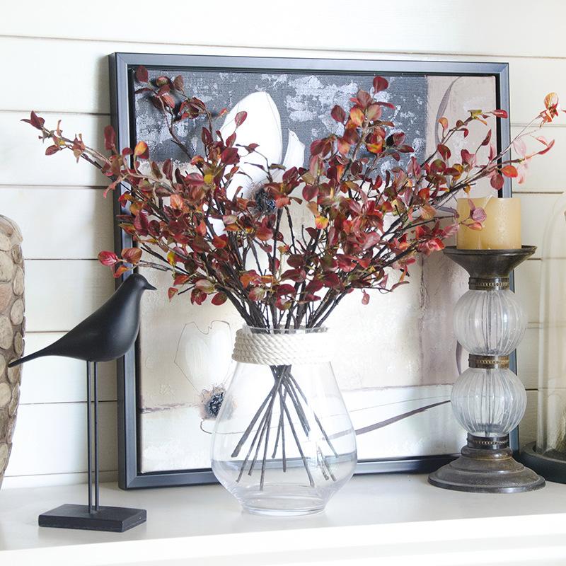cm artificial real toque de folhas verdes da rvore ramo planta do hotel casa casamento decorao arranjo de flores