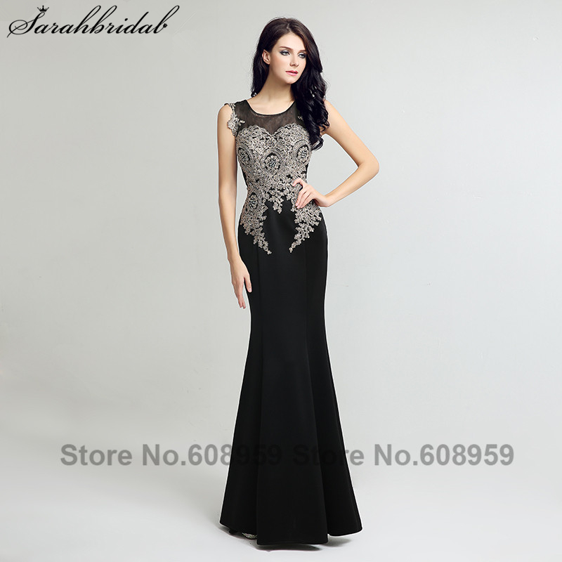 Modische Sheer Mermaid Abendkleider Kristall Perlen Spitze Stickerei Lange Formale Kleid Party Vestido De Festa LSX119