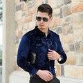 Горячие Продажа Осень Новая Мода Мужская С Длинным Рукавом Бархатное Платье Рубашка Деловой Человек Цветочные Рубашки