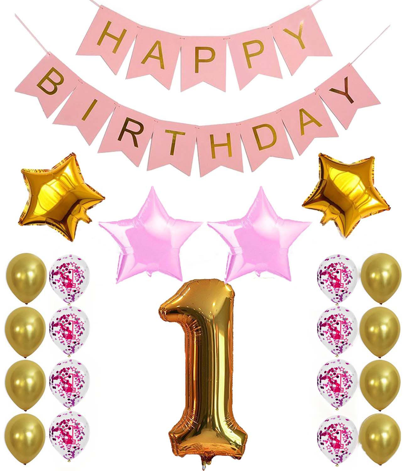 1th Birthday Party Decoration Sets Happy Banner Gold Number Balloons 1 Years Old Supplies