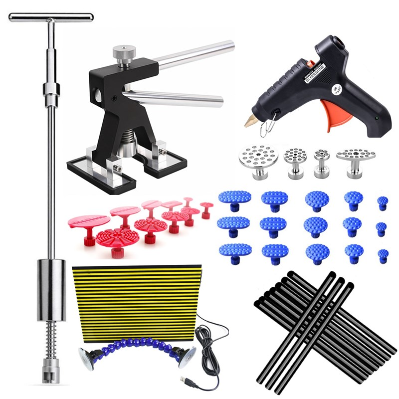 PDR Tools Paintless Dent Repair Tools Dent Removal car Kit LED Reflector Board Dent Puller Glue gun glue tabs Hand Tool Set цена