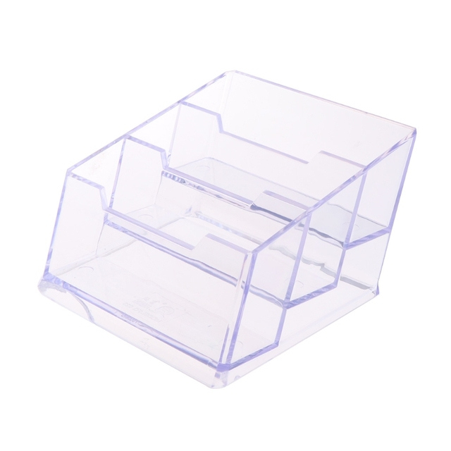 3 Tier Clear Acrylic Plastic Office Desktop Business Card Holder