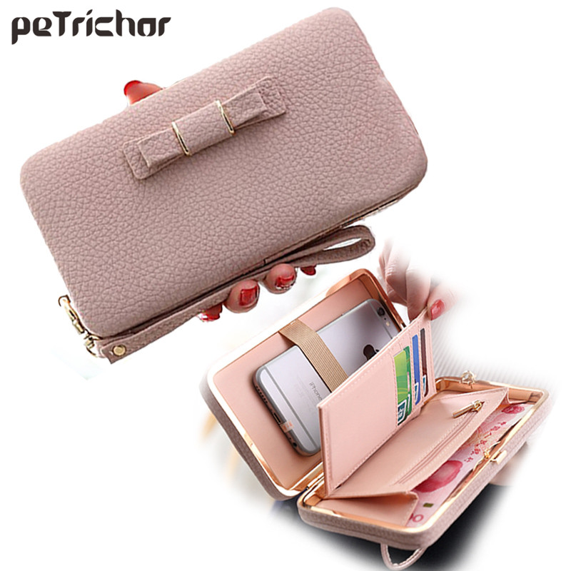 Hot Brand Design Pu Leather Solid Zipper Envelope Day Evening Clutch Wallets Phone Bags Purse Long Style Bow Wallet For Women 2016 hot fashion women wallets double zipper bag solid pu leather men long coin purse brand clutch lady cash hold phone card