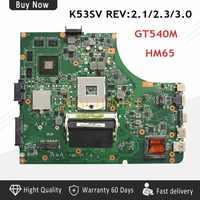K53SV マザーボード Asus K53SV REV2.1 REV2.1 A53S K53S X53S K53SC ノートパソコンのマザーボード GT540M 1 グラム DDR3 HM65 100% テスト無傷