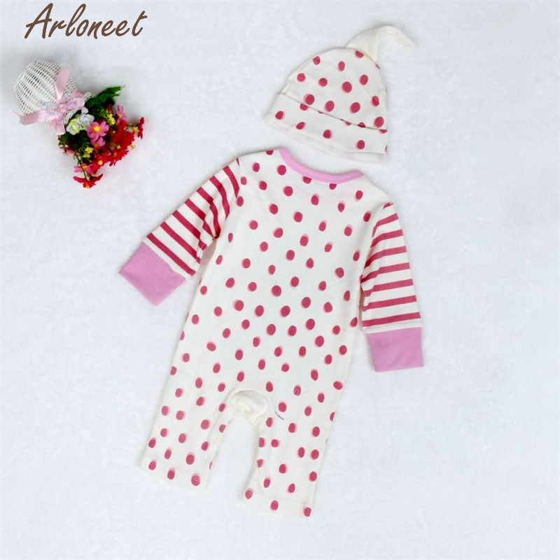 New Year Fashion Baby Boy Girl Clothes Newborn Infant Baby Boys Girls Cute Print Romper Jumpsuit+Hat Outfits Clothes Baby Sets &