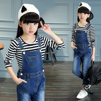 2018 New Large Children Clothing Set Girls Long Sleeved Striped T shirt + Denim Jumpsuit Overalls For Kids Girl Clothes 12 Years