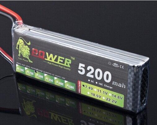 2 unids/lote León poder marca 7,4 V 5200 mAh fábrica al por mayor aviones modelo 7,4 V 25C a 30C León lithum polímero 2 s batería