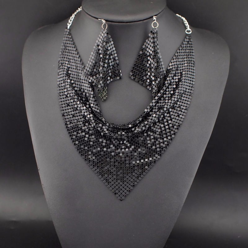 Slinky Metal Bib Necklace and Earring Set