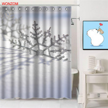 WONZOM 2018 Snowflake Shower Curtains With 12 Hooks For Bathroom Decor Modern 3D Deer Polyester Fabric