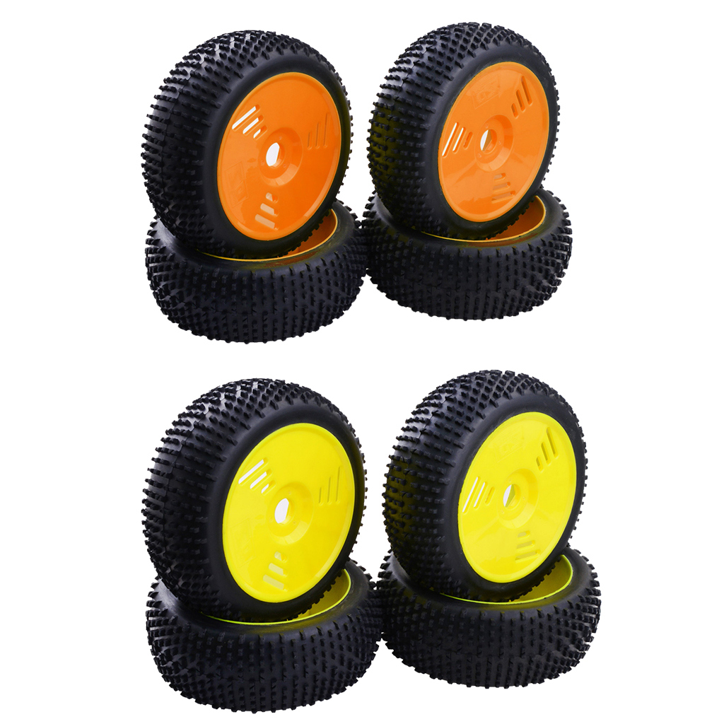 4pcs Rubber Tires & Wheels 17mm Hex for 1/8 Team Losi Redcat FS RC Car Buggy(China)