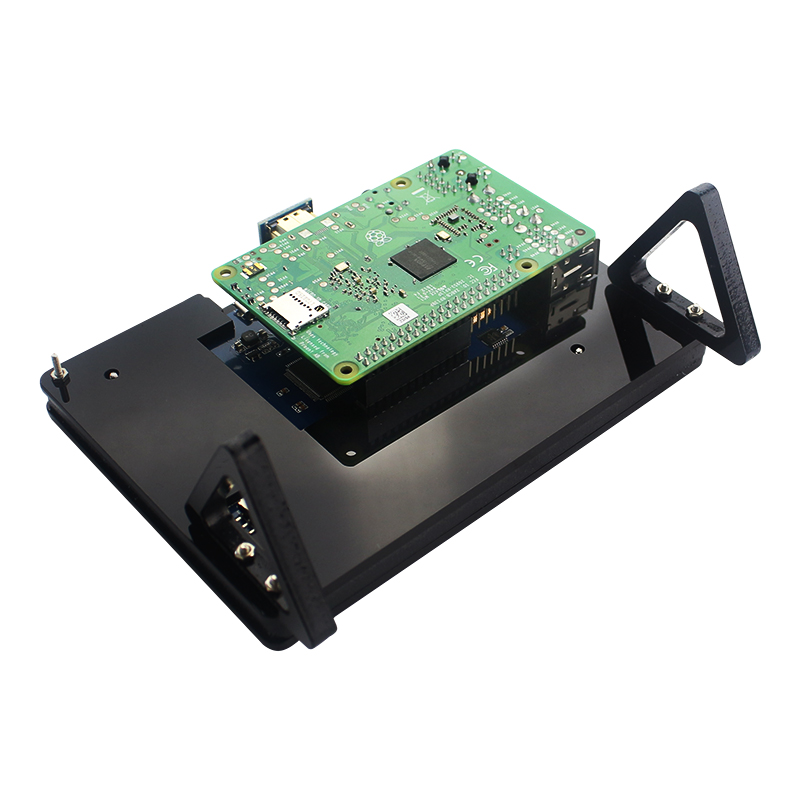 Computer & Office ... Demo Board & Accessories ... 32716682762 ... 4 ... Raspberry Pi 3 Model B+ Plus 5 inch LCD Acrylic Bracket Case Black White Fixed Bracket Holder for 800*480 Touchscreen Support ...