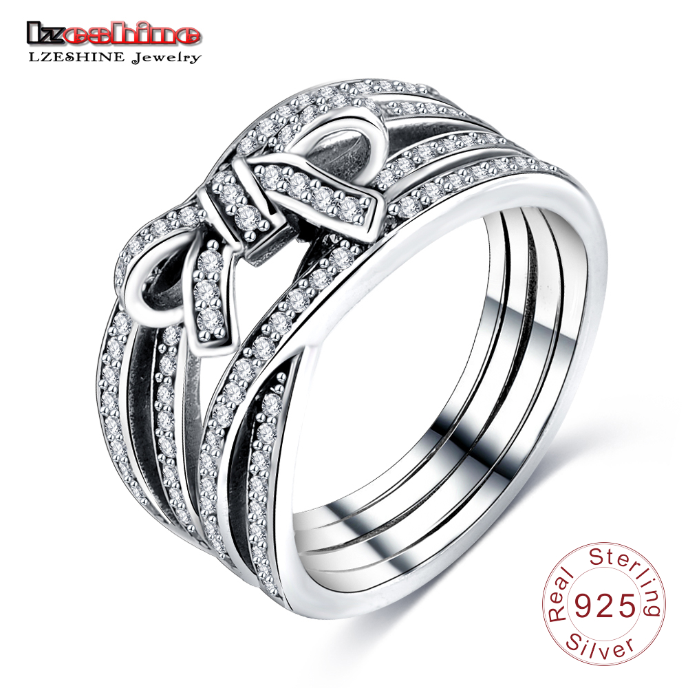 LZESHINE Bowknot Shape Ring for Women Wedding Bands AAA Zircon 925 Sterling Silver Rings Anel Wholesale Bijoux PSRI0065-B